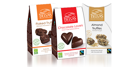 Bags of fairtrade certified Belvez chocolate