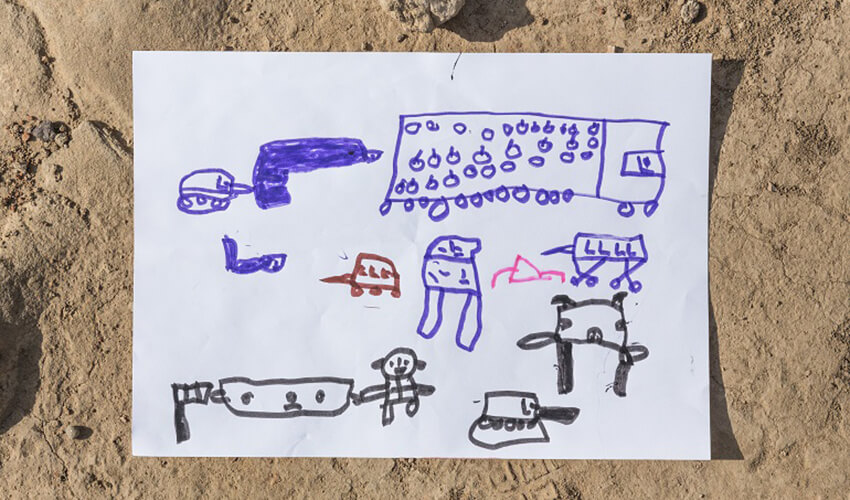Child's drawing of the war in Syria.
