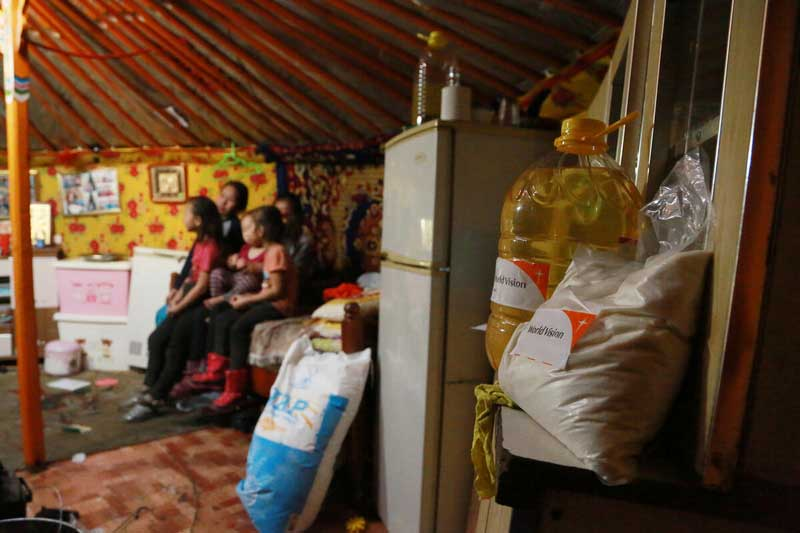Food supplies provided by World Vision in the kitchen inside a home of a family in Mongolia.