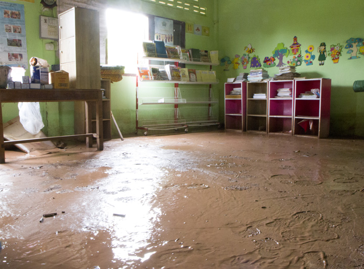 Primary School, Latrine, and Kindergarten in Bok village was affected by the flood.