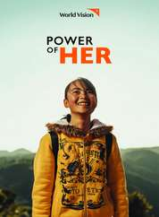 Cover of the World Vision Power of Her brochure with a young girl wearing yellow hoodie.